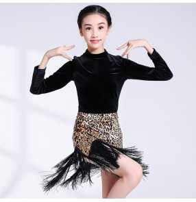 Children latin dresses leopard with black velvet competition ballroom rumba salsa chacha dance costumes tops and skirts