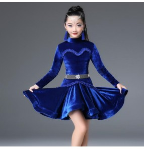 Children latin dresses velvet long sleeves royal blue pink black  stage performance salsa rumba chacha dance costumes dress