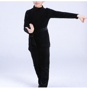 Children latin shirts and pants velvet long sleeves black color for boys ballroom competition stage performance professional tango waltz dance tops and trousers sets