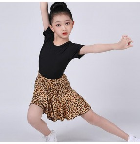 Children Leopard wine white purple latin dance costumes Girls latin dance practice clothes kids Latin Dance Competition Regulations dresses