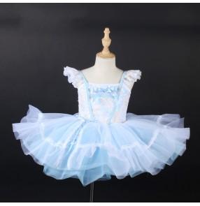 Children light blue ballet dance dresses modern dance lace princess dress Tutu skirt stage birthday party performance costume