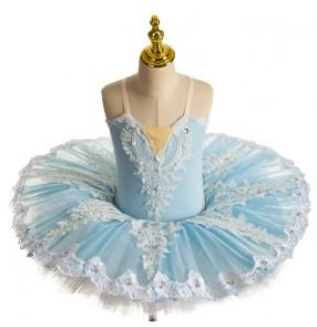 Children light blue Little Swan lake Ballet Dance dresses pancake ballet tutu skirts girls Professional Swan Lake classical Ballet dance costumes ballerina dance dresses