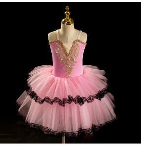 Children long length pink white red tutu skirts girls ballet soft yarn dance costumes lace tutu Romantic Toddler Sling Performance ballet dresses Tutu Giselle Style