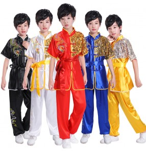 Children martial art wushu stage performance clothing for boys girls chinese tai chi clothing boys girls kung fu uniforms