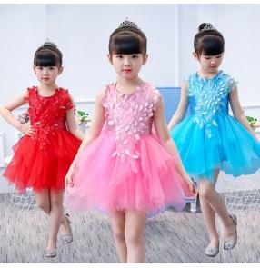 Children modern dance dress red pink blue princess flower girls cosplay jazz singers chorus stage performance costumes