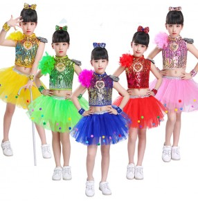 Children modern dance dresses girls princess dress sequin rainbow jazz singers host performance costumes dress