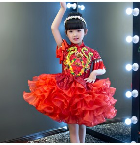 Children modern dance dresses phoenix china style chorus singers carnival flower girls stage performance cosplay model show dancing princess dresses