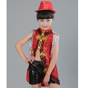 Children modern dance jazz dance costumes boys girls red black silver sequin tuxedo tops and shorts costumes