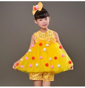 Children modern dance jazz princess dress yellow girls chorus singers stage model show dance dresses costumes