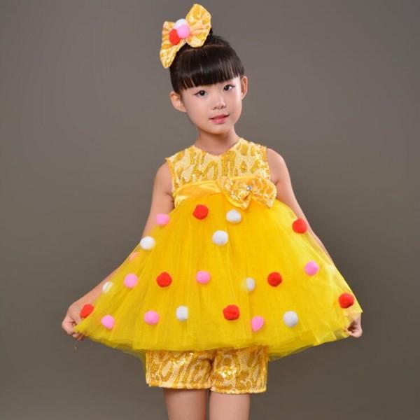 d7eb8bad8a37 Children modern dance jazz princess dress yellow girls chorus ...