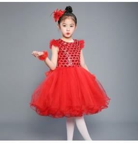 Children modern dance jazz singers dance dresses paillette princess photos stage performance show cosplay dresses