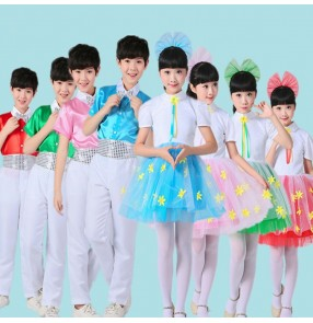 Children modern jazz dance dresses school competition chorus singers host drama cosplay costumes outfits