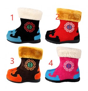 Children Mongolian dance warm boots boys and girls cotton shoes ethnic minority dance performance costumes autumn winter plush thickening boots