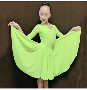Children neon green Latin dance dresses for girls standard ballroom dance performance clothing Girls split exercise clothes ballroom dance dress for kids