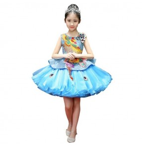 Children phoenix singer host stage performance blue colored modern dance dresses stage performance chorus solo cosplay princess flower girls dresses