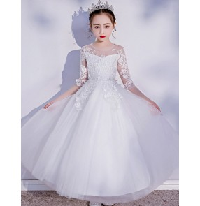 Children piano performance dress solo princess dress flower girls white lace dresses catwalk pettiskirt Flower girl wedding host costume birthday gift dress