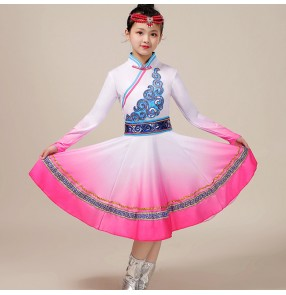 Children pink blue color girls Mongolian dance dresses Ethnic minority Mongolia dance costume girls Mongolian grassland performance clothing suit