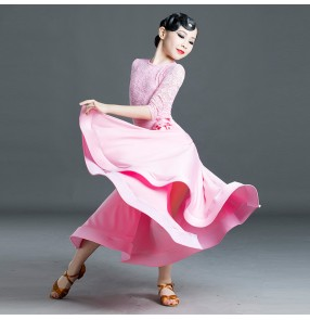 Children pink lace competition ballroom dance dresses waltz tango dance dress for girls