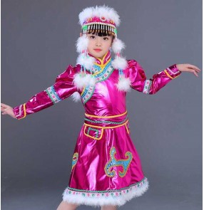 Children pink Mongolian performance dress girls Ethnic minority stage costumes primary and secondary school students mongolia dance costumes