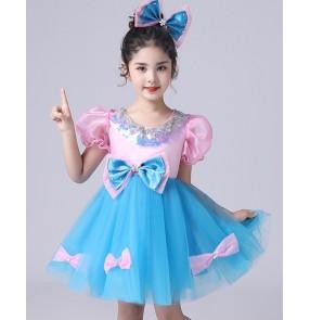 Children pink with blue chorus costumes photos shooting birthday party chorus princess dresses dance puffy gauze skirt girls kindergarten princess dress