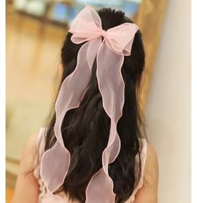 Children princess fairy flower girls bowknot hair accessories girls photos shooting long ribbon bow hairpins baby headdresses Korean ponytail hairpins for little girls