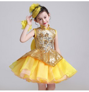Children princess host solo dresses stage performance modern dance chorus flower girls competition piano performance cosplay dresses