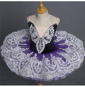 Children purple green tutu skirts girls white little swan ballet dance dresses pancake classical ballet dance costumes practice skirt professional ballet dance dress