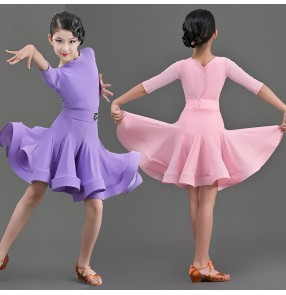 Children Purple pink dark green Latin dance competition dance dresses Girls latin dance clothing ballroom dance skirt for children girls