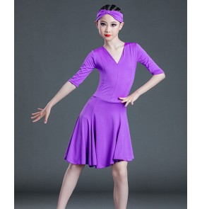 Children Purple yellow mint orange latin dance dresses girls latin dance skirt kids mid-sleeve professional competition examination clothes