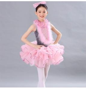Children rabbit fur pink ballet dance Dress for girls tutu skirt ballet performance costumes ballerina ballet stage costume birthday party gift dress