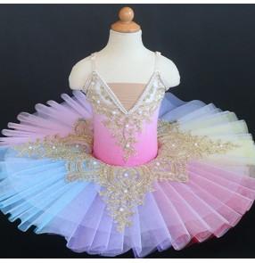 Children Rainbow colorful tutu skirts girls ballerina ballet dance dresses sleeping beauty girl little swan show group pancake ballet dance costume