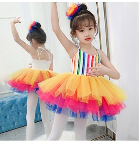 Children rainbow jazz dance costumes Girls stage Tutu skirts chorus princess sling dresses kids kindergarten performance costume
