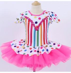 Children Rainbow striped pink color ballet dance tutu skirt princess dress Pettiskirt costume Ballet performance costume stage costume for girls