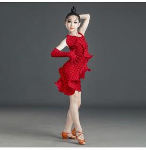 Children red black polka dot latin dance dress stage performance salsa dance dress stage performance costumes for kids