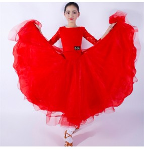 Children red turquoise Lace ballroom dancing dresses kids competition professional Long Sleeve dresses Children's Ballroom Dance Costume