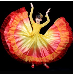 Children red yellow colored spanish flamenco dance dresses for girls ballroom opening dance costumes chorus swing skirts stage performance dress