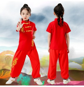 Children reg gold martial arts wushu performance clothing chinese kungfu  long-sleeved Chinese Tai Chi competition training uniforms