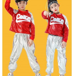 Children Royal blue red sequined Jazz Dance Costumes Street hiphop Dance outfits rap dance clothing Sportswear Kindergarten cheerleading dance clothes