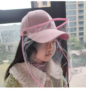 Children's anti-droplet protective baseball hat with transparent face shield baseball sun cap student hat