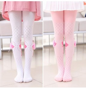 Children's ballet dance pantyhose ballet princess stage performance dresses socks mesh hollow cotton dance girls knitted bottoming leggings
