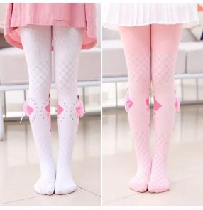 Children's ballet dance pantyhose ballet princess stage performance dresses socks mesh hollow cotton dance girls knitted bottoming leggings