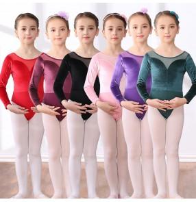 Children's Ballet dance velvet bodysuits for girls kids long-sleeved exercise fitness modern dance suit ballet children's gym suit