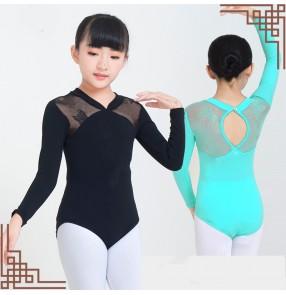 Children's ballet gymnastics exercise leotards tops long-sleeved lace kids ballet dance clothes bodysuits for girls