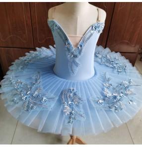 Children's Ballet Performance Dress Puffy light blue Tutu Skirt Girls Swan Lake Ballet Tutu Skirt Little Swan Dance Skirt