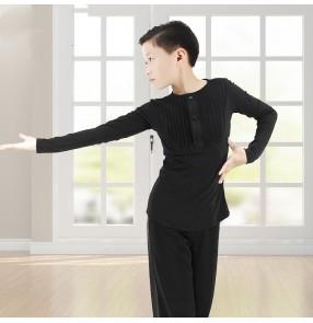 Children's black Latin Dance Tops Long Sleeve Round Neck Boys junior Modern Ballroom latin Dance Training shirts Practice Clothing