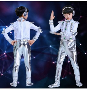 Children's boy space astronaut performance costumes modern dance rap popping dance robot stage performance uniforms