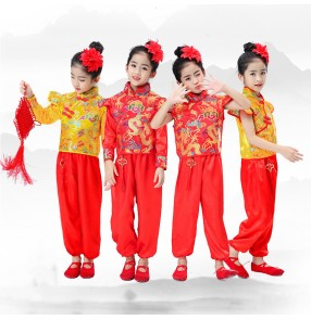 Children's Boys girls chinese dragon waist drum suits for boys and girls Elementary school drumming clothes Children's martial arts performance costume