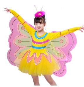 Children's butterfly Performance Costume Girls fairy cartoon cosplay Dance Costume Kids Wings Clothes Toddler Performance Veil