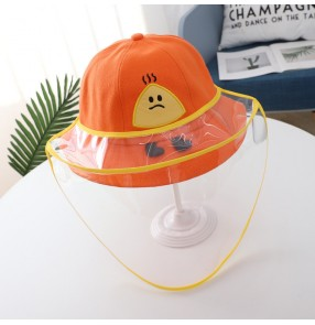 Children's cartoon fisherman's cap with safety face shield anti-droplet dustproof baby protective sun hat
