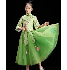 Children's cheongsam chinese qipao dresses guzheng performance costume Chinese style hanfu classical girl allegro performance dress for girl